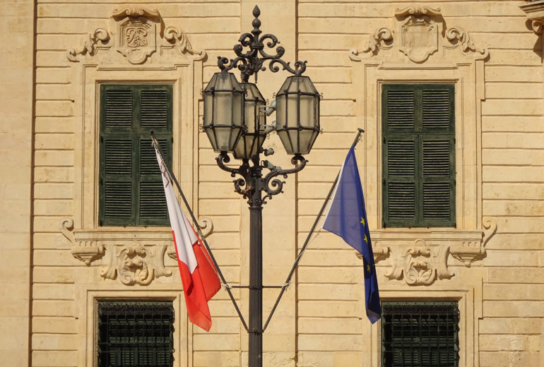 The facade of the Auberge de Castille in Valletta, which houses the Prime Minister's office