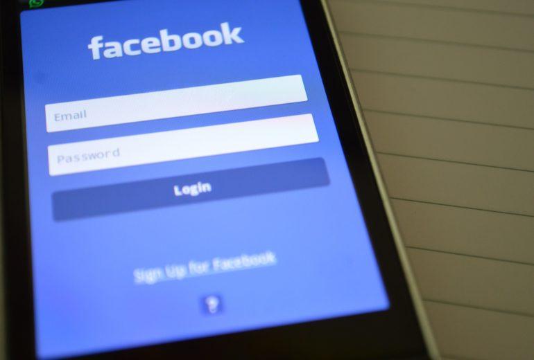 Facebook login screen on a smartphone